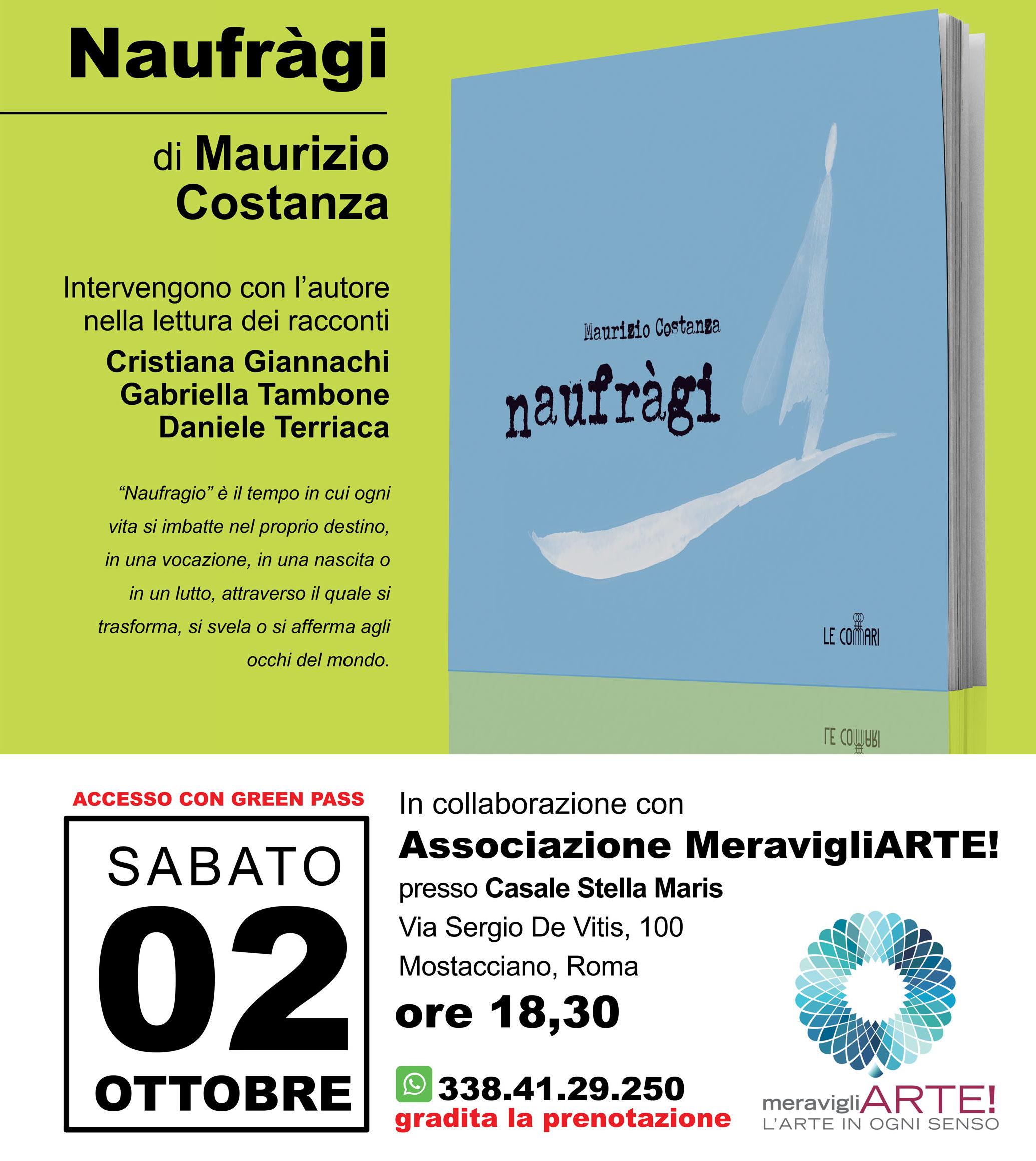 Il 2 ottobre presentazione del libro Naufràgi di Maurizio Costanza